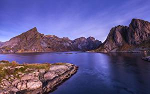 Картинки Норвегия Лофотенские острова Горы Заливы
