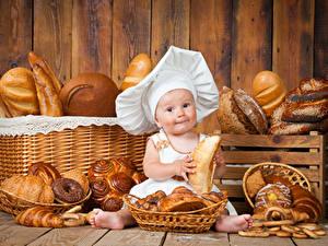Фотография Выпечка Хлеб Булочки Младенцы В шапке Повара Еда