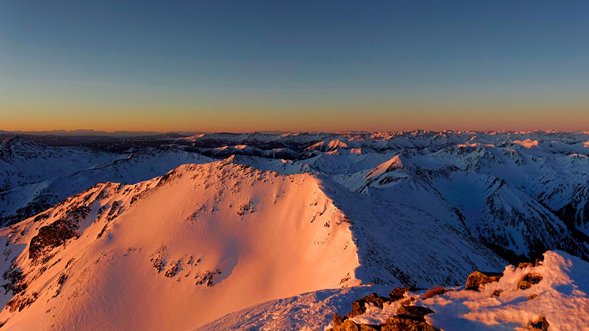 Картинки альп Австрия Styria гора Зима Природа снега 1920x1080 Альпы Горы зимние Снег снеге снегу