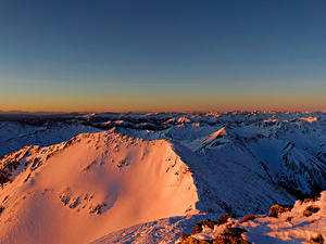 Картинки Австрия Горы Зимние Альпы Снег Styria