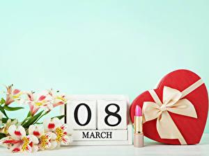 Фото Праздники 8 марта Альстрёмерия Английский Подарки Сердце Бантик Цветы
