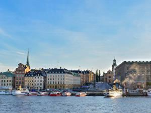 Фото Швеция Стокгольм Дома Пристань Корабль Залива Города