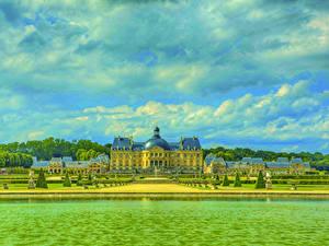 Фотография Франция Замок Реки Парки HDRI Chateau de Vaux город