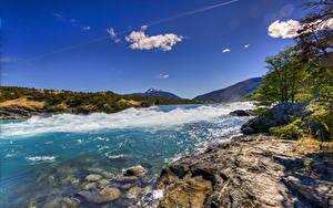 Фотографии Чили Берег Волны Залива Холм Patagonia