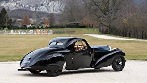 Фото BUGATTI Ретро Черные Металлик Вид сзади 1935 Type 57 Atalante Coupe Prototype машины