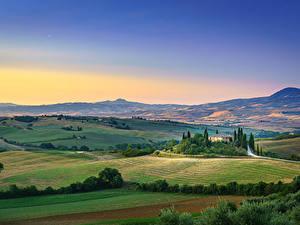 Картинки Поля Тоскана Италия Холм Горизонта San Quirico d'Orcia, Tuscany