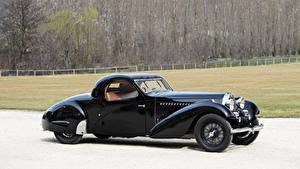 Картинка BUGATTI Винтаж Черные Металлик Сбоку 1935 Type 57 Atalante Coupe Prototype машина