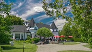 Картинки Канада Дома Кафе Уличные фонари Andrews New Brunswick Города