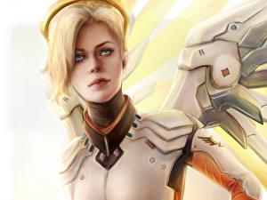 Картинки Overwatch Ангелы Mercy компьютерная игра Фэнтези Девушки