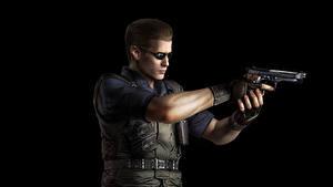 Фотография Resident Evil Мужчины Пистолеты Черный фон Albert Wesker Игры 3D_Графика