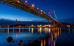 Фотография Швеция Реки Мосты Здания Ночные Уличные фонари Gothenburg Города