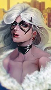 Обои Маски Взгляд Волосы Блондинка Felicia Hardy, Black Cat Фэнтези Девушки