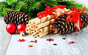 Фото Рождество Печенье Шишки Шар Бантик Пища