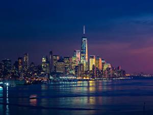 Фотографии США Дома Небоскребы Вечер Нью-Йорк Города