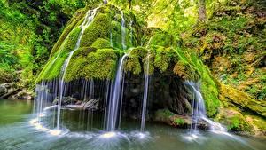 Фотографии Румыния Камень Водопады Мох Bigar