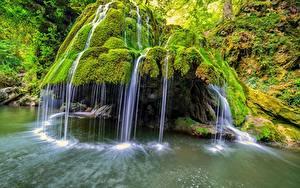 Фотографии Румыния Камень Водопады Мох Bigar Природа