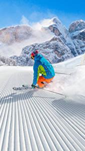 Фотография Зима Лыжный спорт Снег Униформа Скорость Спорт