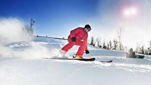 Картинки Зима Лыжный спорт Мужчины Снег Спорт