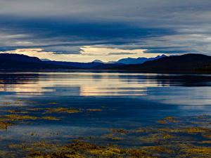 Фотография Норвегия Лофотенские острова Горы Вечер Залив