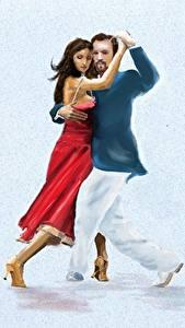 Фотографии Рисованные Мужчины Танцы Два Tango молодые женщины