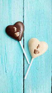 Фотография День всех влюблённых Сладости Конфеты Шоколад Доски Два Серце Дизайна