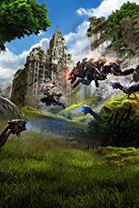 Фото Воин Лучники Великобритания Horizon Zero Dawn Робот Прыгать Лондон Игры Фэнтези