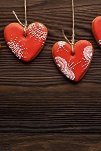 Обои для рабочего стола Печенье День святого Валентина Серце Шаблон поздравительной открытки