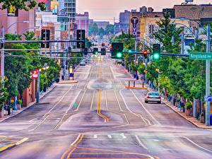 Обои США Здания Дороги Улице University Heights Missouri город