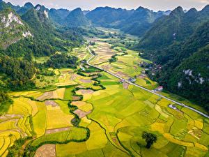 Фотографии Вьетнам Пейзаж Горы Поля Дороги Cao Bang Природа