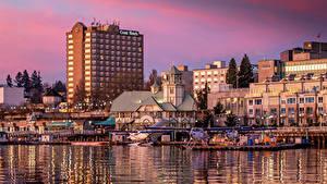Обои Канада Здания Реки Пирсы Ванкувер Nanaimo город