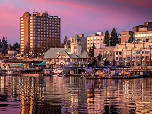 Обои Канада Здания Речка Пирсы Ванкувер Nanaimo Города