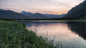 Фотографии Камчатка Россия Гора Реки Трава Природа
