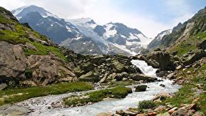 Фотографии Горы Камни Швейцария Ручей Susten Pass