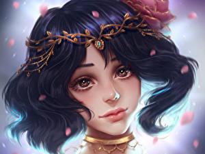 Картинка Рисованные Брюнетки Взгляд Красивые молодые женщины