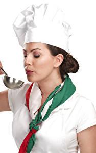 Картинка Белом фоне Повар Униформа Шатенка Руки молодые женщины