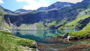 Картинка Италия Горы Озеро Альпы Мох Val Gardena