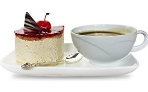 Обои Кофе Торты Десерт Чашке Завтрак Белом фоне