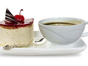 Обои Кофе Торты Десерт Чашка Завтрак Белый фон Пища