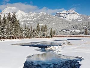 Фото Горы Зимние Леса Речка Пейзаж Снег