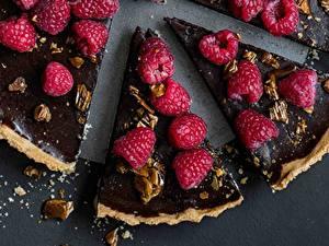 Картинки Пирог Малина Шоколад Кусок Продукты питания