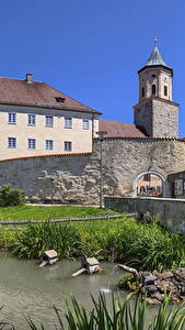 Фотографии Германия Дома Пруд Бавария Gosheim город