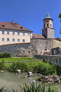 Фотографии Германия Дома Пруд Бавария Gosheim Города