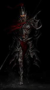 Картинки Рыцарь Воители Доспехе На черном фоне Фэнтези