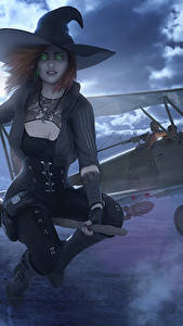 Картинки War Thunder Самолеты Ведьма Хеллоуин Шляпа Ночные Луна Игры Фэнтези Девушки