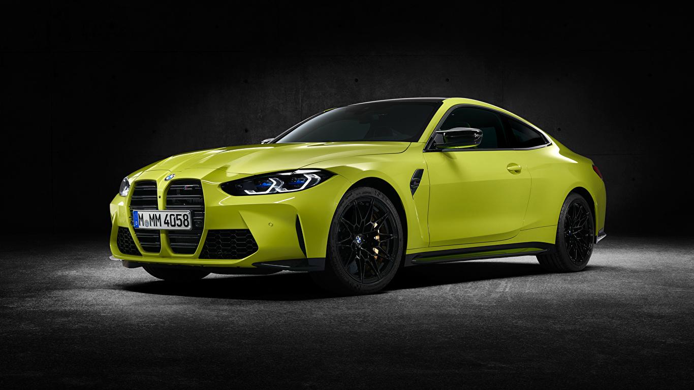 Обои для рабочего стола БМВ M4 Competition, (G82), 2020 Купе авто Металлик 1366x768 BMW машина машины Автомобили автомобиль