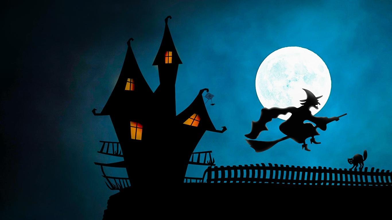 Картинки Ведьма Хеллоуин силуэта Замки луны 1366x768 Силуэт силуэты Луна луной