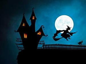 Картинки Замки Ведьма Хеллоуин Силуэт Луна