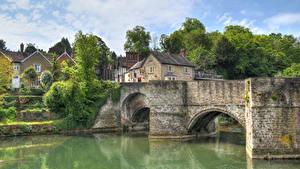 Картинки Англия Дома Речка Мосты Ludlow Города