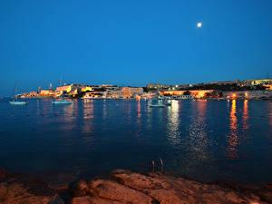Фотографии Мальта Здания Пристань Залив В ночи Луной Valletta Города