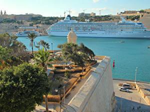 Картинки Мальта Пристань Круизный лайнер Залива Valetta город